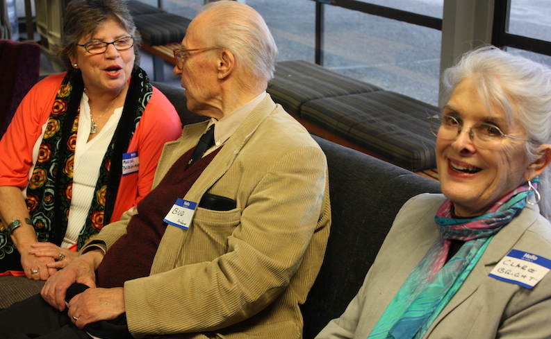 Photo of Marisol Berrios-Miranda and Bud Saxberg at the Honors Hearth