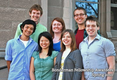 2010 Honors Program Bonderman Fellows. Bottom row, left to right: Alex Win, Nina Tan, Autumn Cutter, Zach Brown. Top row, left to right: Luke Jensen, Brittany Lichty, and Joseph Cramer.