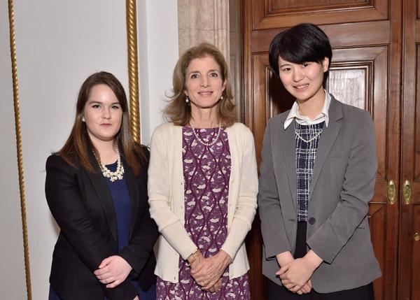 UW student Delaney Lake and Waseda student Yuki Shibamiya with Ambassador Caroline Bouvier Kennedy in Tokyo, March 2015.