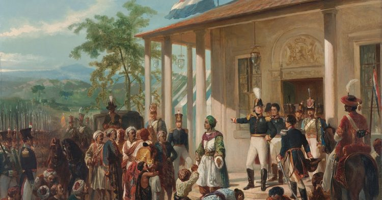 Image: painting of Indonesian prince submitting to Dutch colonist from West Indies company, by artists Nicolaas Pienemann