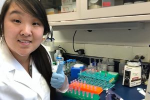 Ga-Young Jin, '17 isolating RNA from mouse liver tissue.