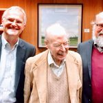 Bror, Bud, and Bo Saxberg at UW Club on Bud's 90th birthday