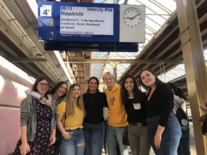 Students waiting to board a train in the Netherlands