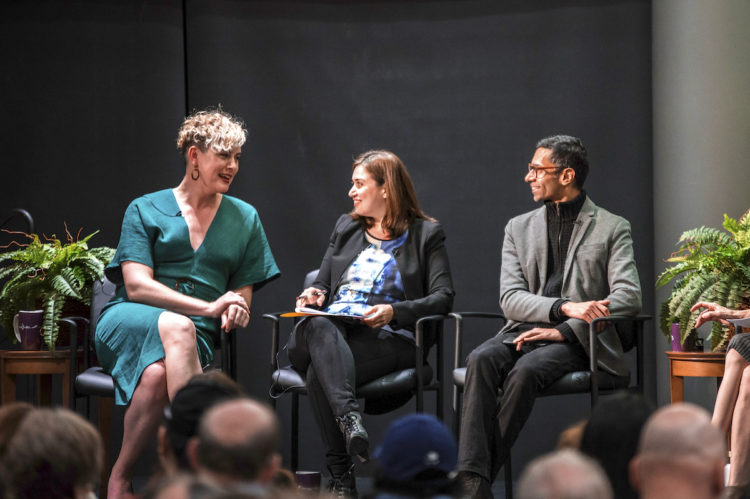 photo of Anna Lauren Hoffman, Ece Kamar and Shankar Narayan on stage at Global Challenges event