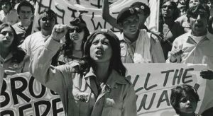 Chicana activist circa 1960s, in midst of protest