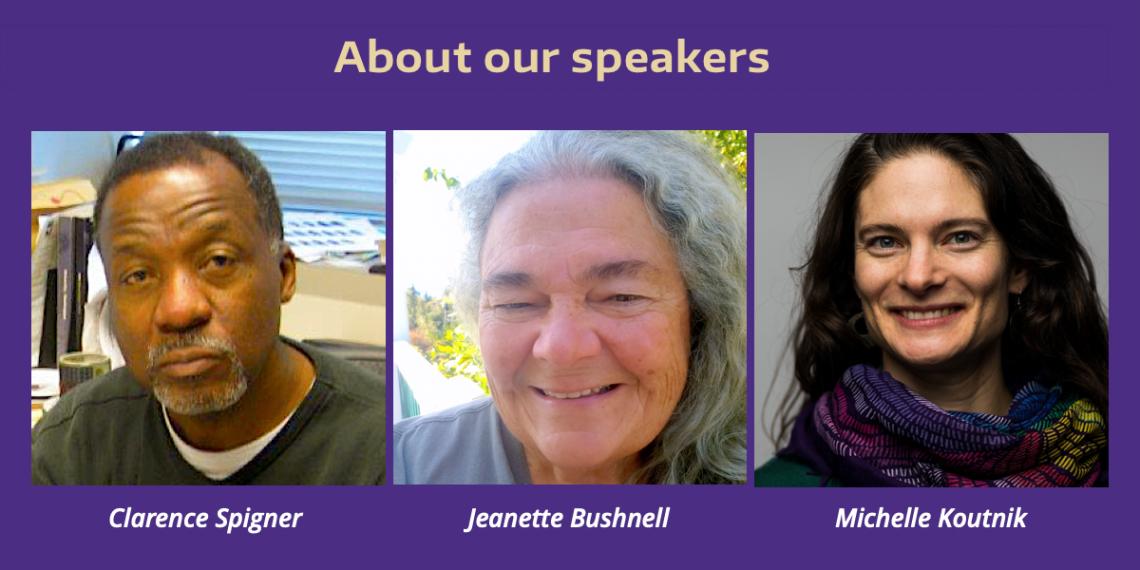 Portraits of Clarence Spigner, Jeanette Bushnell and Michelle Koutnik - 2020 Global Challenges speakers