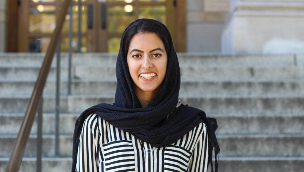 Marium Raza on UW campus
