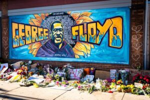 mural honoring George Floyd from black lives matter protest (photo by munshots)